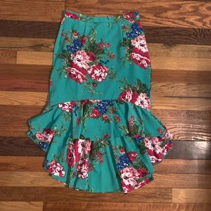 SHEIN floral high low skirt size small